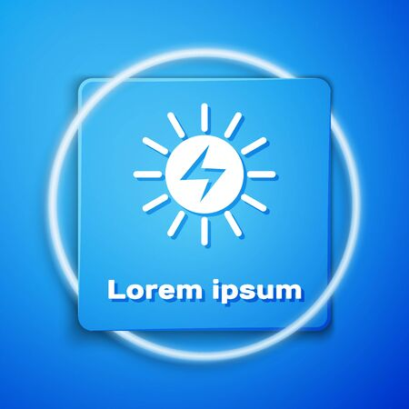 White Solar energy panel icon isolated on blue background. Blue square button. Vector Illustration