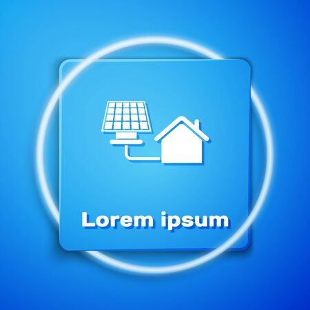 White House with solar panel icon isolated on blue background. Ecology, solar renewable energy. Eco-friendly house. Environmental Protection. Blue square button. Vector Illustration