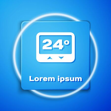 White Thermostat icon isolated on blue background. Temperature control. Blue square button. Vector Illustration