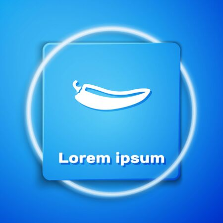 White Hot chili pepper pod icon isolated on blue background. Design for grocery, culinary products, seasoning and spice package, cooking book. Blue square button. Vector Illustration Ilustração