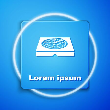 White Pizza in cardboard box icon isolated on blue background. Box with layout elements. Blue square button. Vector Illustration