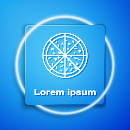 White Pizza icon isolated on blue background. Blue square button. Vector Illustration