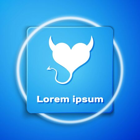 White Devil heart with horns and a tail icon isolated on blue background. Valentines Day symbol. Blue square button. Vector Illustration