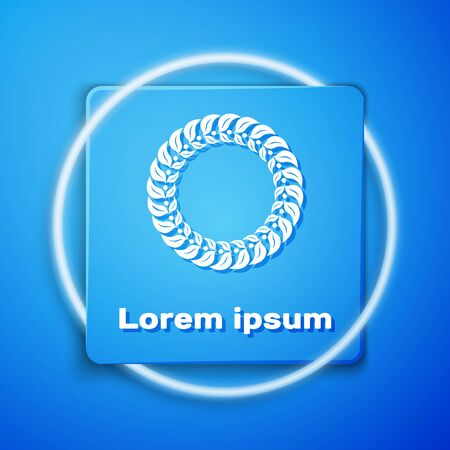White Laurel wreath icon isolated on blue background. Triumph symbol. Blue square button. Vector Illustration Banque d'images - 131183998