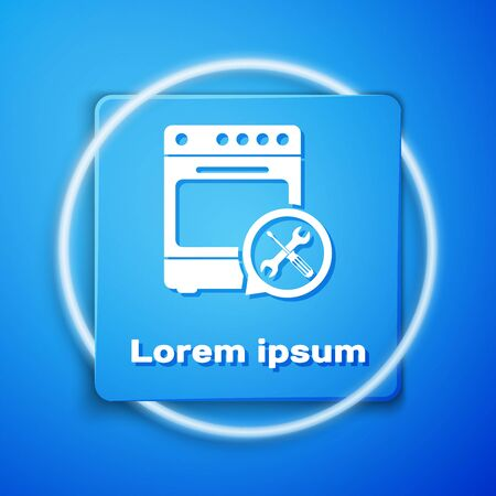 White Oven with screwdriver and wrench icon isolated on blue background. Adjusting, service, setting, maintenance, repair, fixing. Blue square button. Vector Illustration