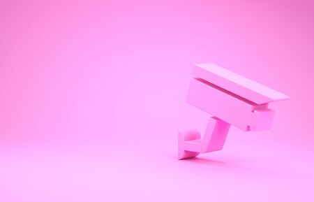 Pink Security camera icon isolated on pink background. Minimalism concept. 3d illustration 3D render