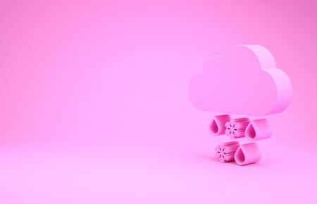 Pink Cloud with snow and rain icon isolated on pink background. Weather icon. Minimalism concept. 3d illustration 3D render