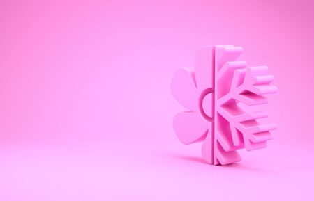 Pink Air conditioner icon isolated on pink background. Minimalism concept. 3d illustration 3D render Imagens