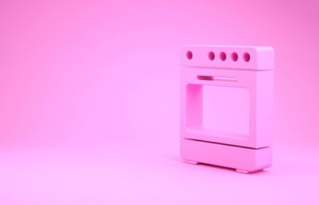 Pink Oven icon isolated on pink background. Stove gas oven sign. Minimalism concept. 3d illustration 3D render Stock Photo