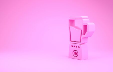 Pink Blender icon isolated on pink background. Kitchen electric stationary blender with bowl. Cooking smoothies, cocktail or juice. Minimalism concept. 3d illustration 3D render
