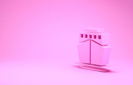 Pink Ship icon isolated on pink background. Minimalism concept. 3d illustration 3D render 스톡 콘텐츠