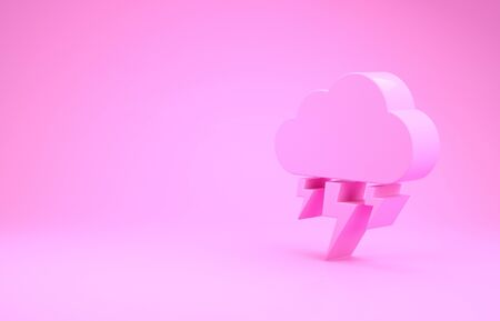 Pink Storm icon isolated on pink background. Cloud and lightning sign. Weather icon of storm. Minimalism concept. 3d illustration 3D render