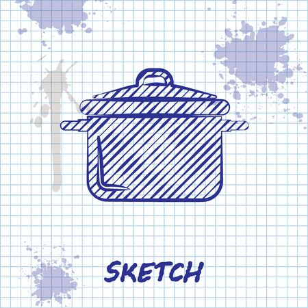 Sketch line Cooking pot icon isolated on white background. Boil or stew food symbol. Vector Illustration