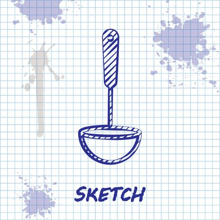 Sketch line Kitchen ladle icon isolated on white background. Cooking utensil. Cutlery spoon sign. Vector Illustration