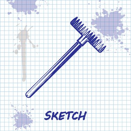Sketch line Garden rake icon isolated on white background. Tool for horticulture, agriculture, farming. Ground cultivator. Housekeeping equipment. Vector Illustration Ilustração