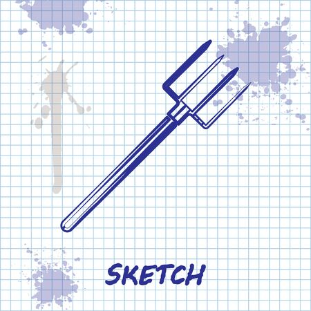 Sketch line Garden pitchfork icon isolated on white background. Garden fork sign. Tool for horticulture, agriculture, farming. Vector Illustration
