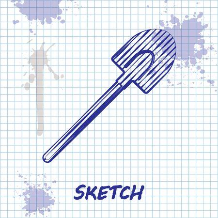 Sketch line Garden shovel icon isolated on white background. Gardening tool. Tool for horticulture, agriculture, farming. Vector Illustration