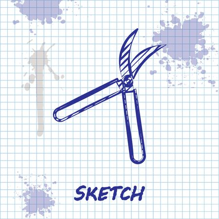 Sketch line Gardening handmade scissors for trimming icon isolated on white background. Pruning shears with wooden handles. Vector Illustration