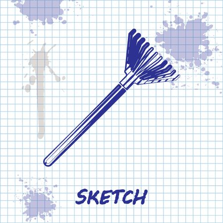 Sketch line Garden rake for leaves icon isolated on white background. Tool for horticulture, agriculture, farming. Ground cultivator.