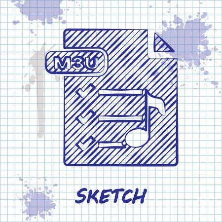 Sketch line M3U file document. Download m3u button icon isolated on white background. M3U file symbol. Vector Illustration