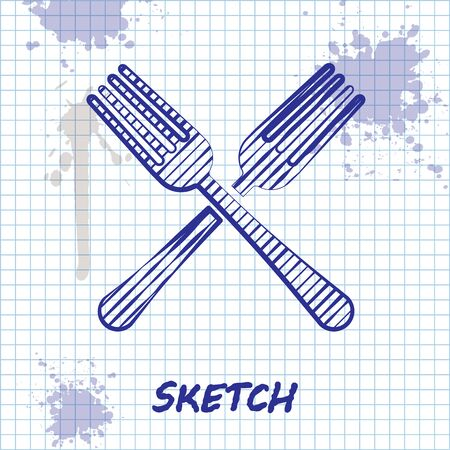Sketch line Crossed fork icon isolated on white background. Cutlery symbol. Vector Illustration Illustration