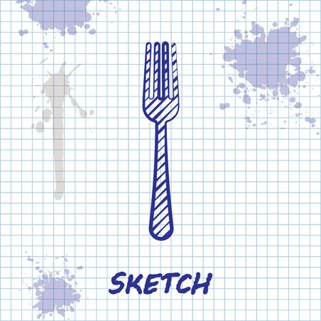 Sketch line Fork icon isolated on white background. Cutlery symbol. Vector Illustration