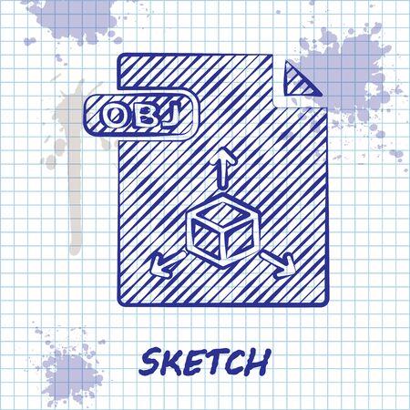 Sketch line OBJ file document. Download obj button icon isolated on white background. OBJ file symbol. Vector Illustration