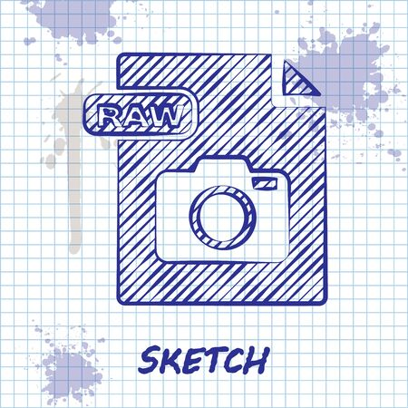 Sketch line RAW file document. Download raw button icon isolated on white background. RAW file symbol. Vector Illustration