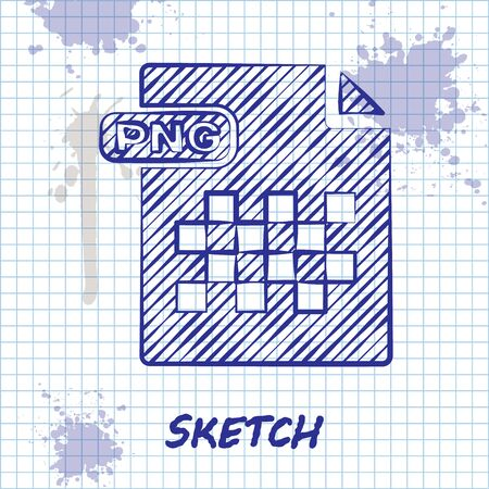 Sketch line PNG file document. Download png button icon isolated on white background. PNG file symbol. Vector Illustration