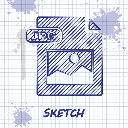 Sketch line JPG file document. Download image button icon isolated on white background. JPG file symbol. Vector Illustration