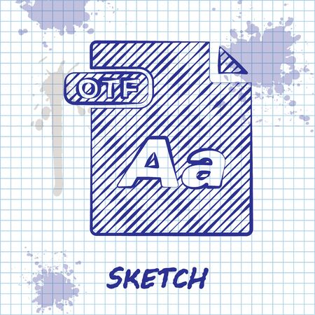 Sketch line OTF file document. Download otf button icon isolated on white background. OTF file symbol. Vector Illustration
