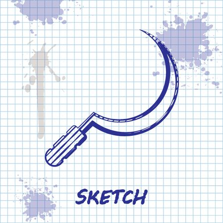 Sketch line Sickle icon isolated on white background. Reaping hook sign. Vector Illustration
