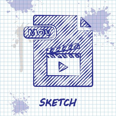 Sketch line MOV file document. Download mov button icon isolated on white background. MOV file symbol. Audio and video collection. Vector Illustration
