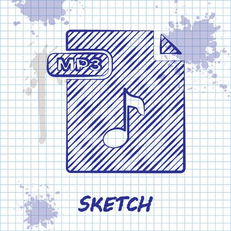 Sketch line MP3 file document. Download mp3 button icon isolated on white background. Mp3 music format sign. MP3 file symbol. Vector Illustration 일러스트