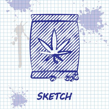 Sketch line Marijuana or cannabis seeds in a bag icon isolated on white background. Hemp symbol. The process of planting marijuana. Vector Illustration