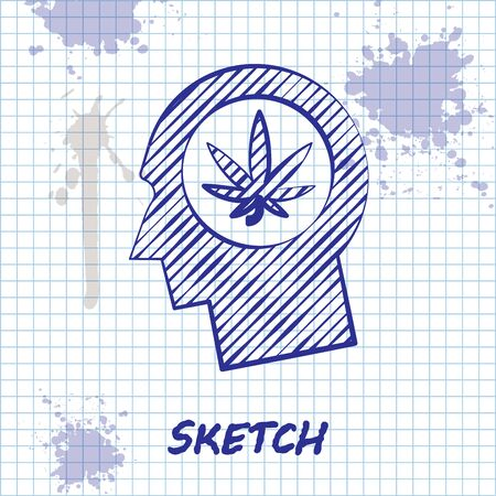 Sketch line Silhouette of male head in profile with marijuana or cannabis leaf icon isolated on white background. Marijuana legalization. Hemp symbol. Vector Illustration