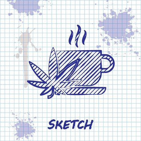 Sketch line Cup tea with marijuana or cannabis leaf icon isolated on white background. Marijuana legalization. Hemp symbol. Vector Illustration 일러스트