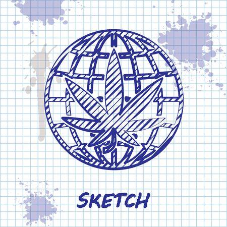 Sketch line Legalize marijuana or cannabis globe symbol icon isolated on white background. Hemp symbol. Vector Illustration