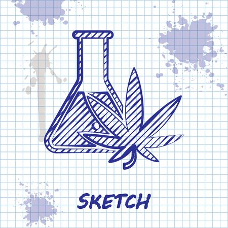 Sketch line Chemical test tube with marijuana or cannabis leaf icon isolated on white background. Research concept. Laboratory CBD oil concept. Vector Illustration