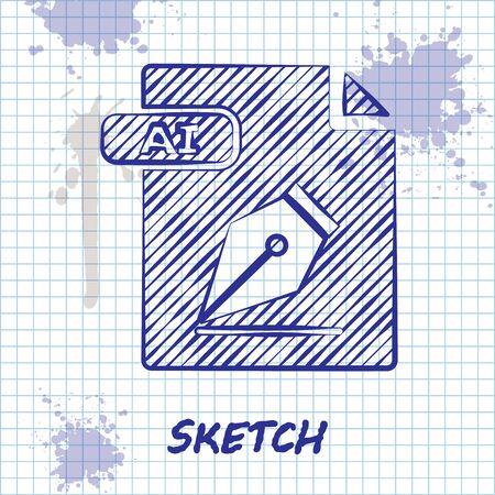 Sketch line AI file document. Download ai button icon isolated on white background. AI file symbol. Vector Illustration