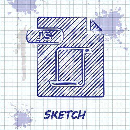 Sketch line JS file document. Download js button icon isolated on white background. JS file symbol. Vector Illustration 일러스트