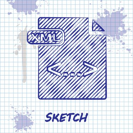 Sketch line XML file document. Download xml button icon isolated on white background. XML file symbol. Vector Illustration 일러스트