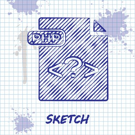 Sketch line PHP file document. Download php button icon isolated on white background. PHP file symbol. Vector Illustration Ilustrace