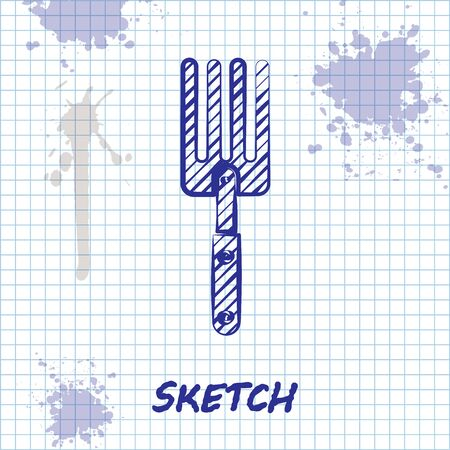 Sketch line Garden fork icon isolated on white background. Pitchfork icon. Tool for horticulture, agriculture, farming. Vector Illustration