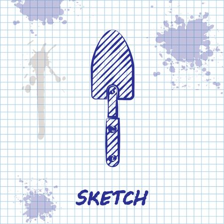 Sketch line Garden trowel spade or shovel icon isolated on white background. Gardening tool. Tool for horticulture, agriculture, farming. Vector Illustration