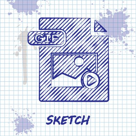 Sketch line GIF file document. Download gif button icon isolated on white background. GIF file symbol. Vector Illustration