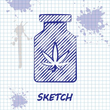 Sketch line Medical bottle with marijuana or cannabis leaf icon isolated on white background. Mock up of cannabis oil extracts in jars. Vector Illustration