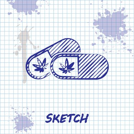 Sketch line Medical pills with marijuana or cannabis leaf icon isolated on white background. Mock up of cannabis oil extracts in jars. Vector Illustration