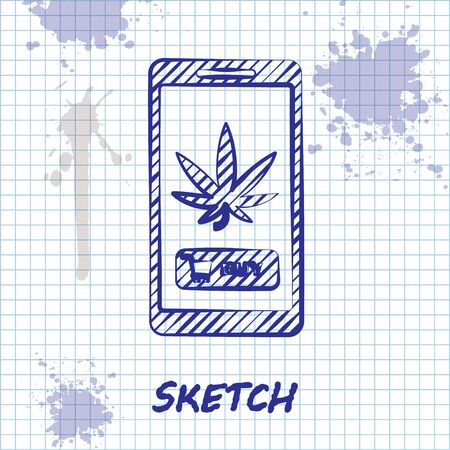 Sketch line Mobile phone and medical marijuana or cannabis leaf icon isolated on white background. Online buying symbol. Supermarket basket. Vector Illustration Stock Vector - 131295691