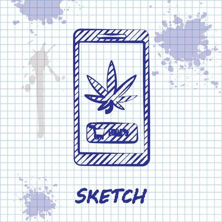 Sketch line Mobile phone and medical marijuana or cannabis leaf icon isolated on white background. Online buying symbol. Supermarket basket. Vector Illustration
